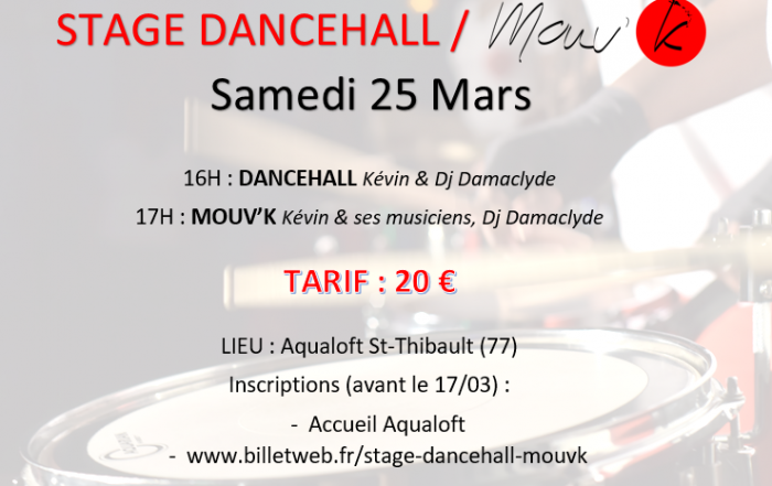 STAGE DANCEHALL MOUVK 25 MARS AQUALOFT